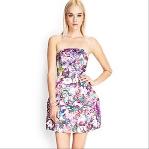 NWT Forever 21 Strapless Floral Watercolor Dress M